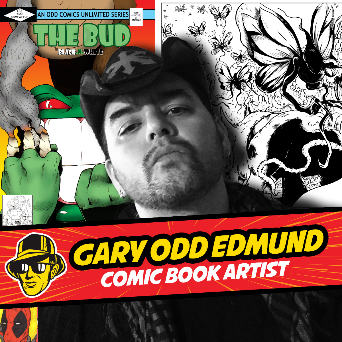 Celebrity Fan Fest special guest comic book artist, Gary ODD Edmund in front of his original artwork