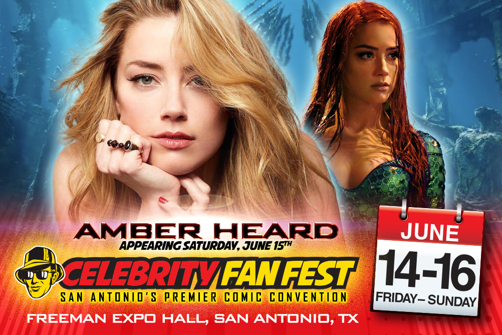Headshot of Celebrity Fan Fest guest Amber Heard in front of her character Princess Mera from Aquaman movie for San Antonio comic con, Celebrity Fan Fest annoucement