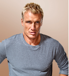 headshot of Celebrity Fan Fest special guest Dolph Lundgren wearing a grey shirt