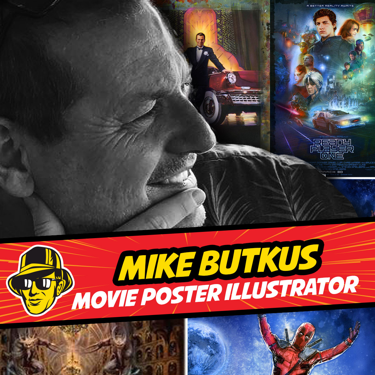 Celebrity Fan Fest special guest artist Mike Butkus in front of his original artwork