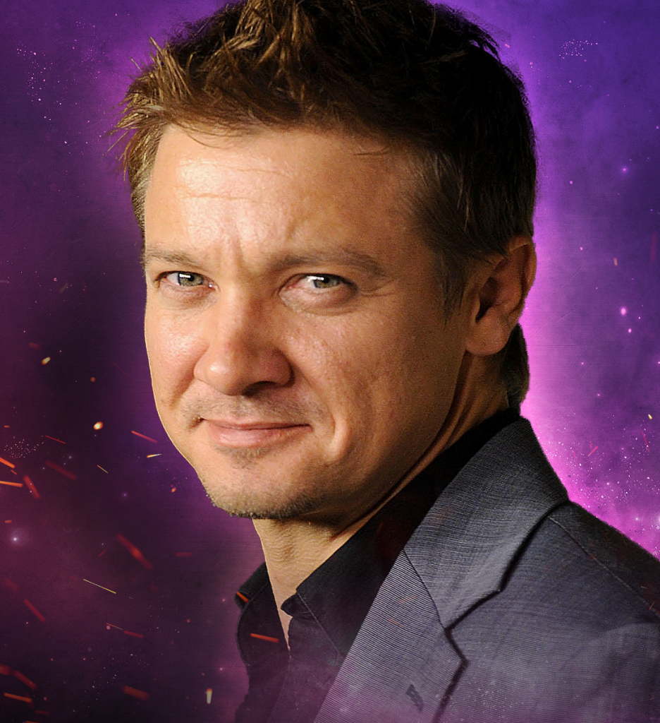 Headshot of Celebrity Fan Fest guest Jeremy Renner on purple background