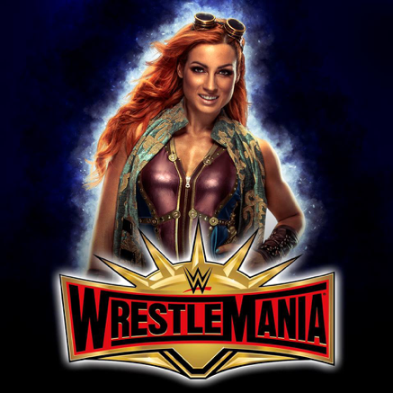Becky Lynch with Wrestle Mania logo