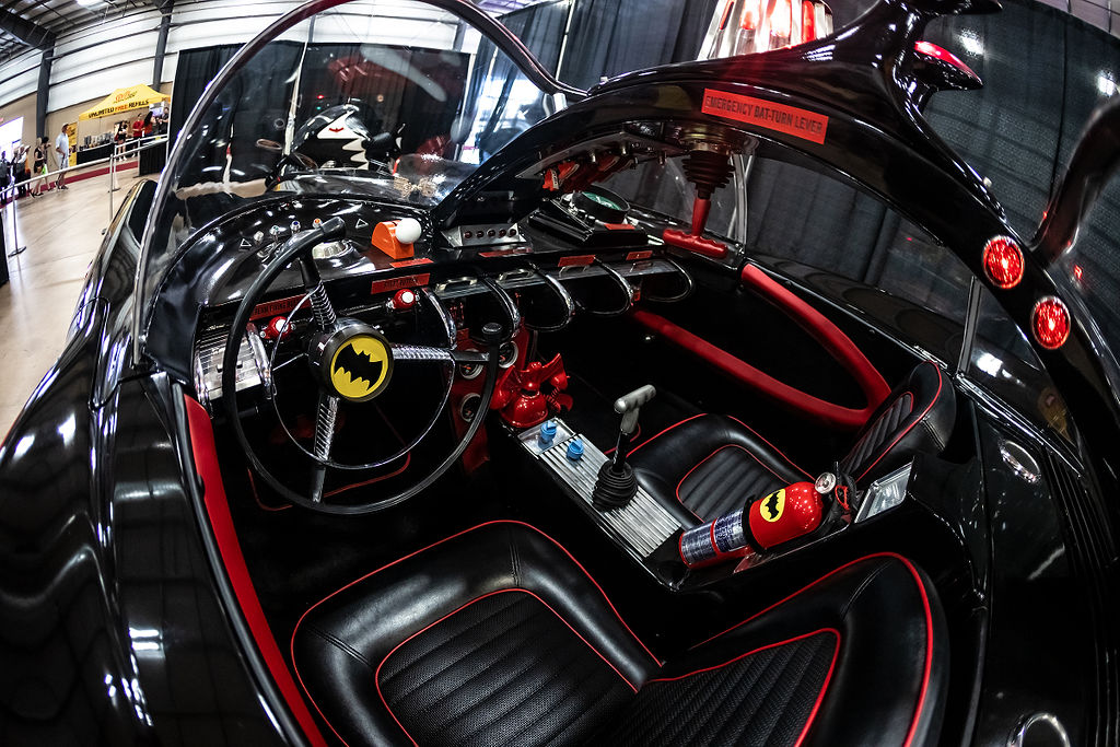 """Driver side inside shot of the 1966 Batmobile from the """"Batman"""" television show at Celebrity Fan Fest's Cars as Stars Exhibit."""