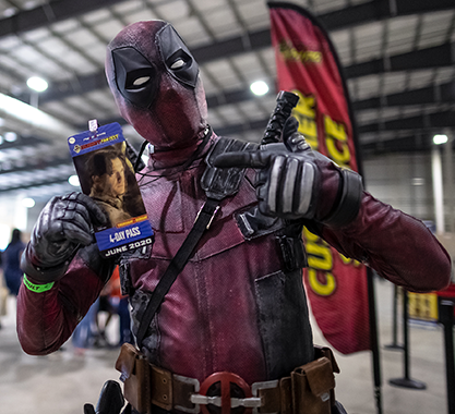 Deadpool cosplayer at Celebrity Fan Fest Preview Con, San Antonio's premier comic con
