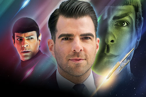 Zachary Quinto with character headshots